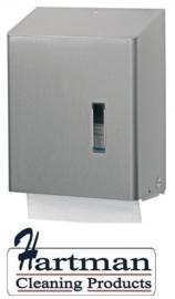 S386900 - SanTRAL Classic RVS Handdoekdispenser Maxi. Interfold gevouwen met adapter. Geschikt voor Z-fold en C-fold handdoeken. Type HSU 31E. Afmeting 350x278x133 mm