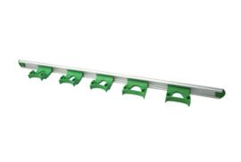 722102106-5 - FBK HCS Wand railophangsysteem kleurcode HACCP aluminium 900 mm 5 x klem groen 15157