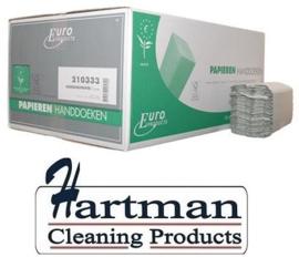 210333 - Euro C-fold papieren handdoekjes recycled papier C-vouw 1-laags 25x33cm naturel met ECO en FSC keurmerk, colli 3600 stuks