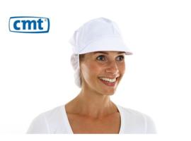 L040 - CMT pet met klep en haaropv, poly-cotton wit, large