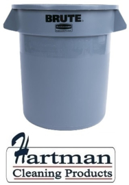 L639 - Rubbermaid ronde afvalcontainer Grijs 37 liter container afmeting: 43,5(h)x39,7(Ø)cm