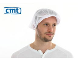 L020 - CMT haarnet met klep polyester universele maat wit