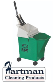 992347 - SYR Mobile mopsysteem met geïntegreerde wringer 8 liter kleurcode groen