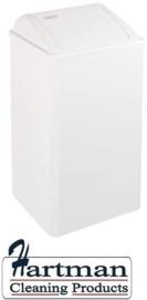 11060 - Afvalbak wit 65 liter gesloten, PP0065 Dutch Bins