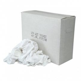 P25210  - Witte tricot poetslappen met een gekleurd randje 10KG