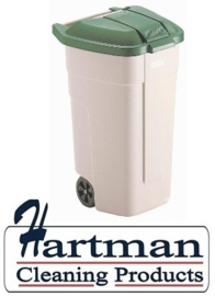 F690 - Rubbermaid rolcontainer met groen deksel 100 Liter