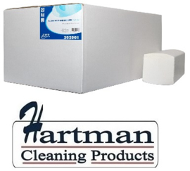 202001 - Euro Flushable papieren handdoekjes cellulose 2-laags Z-vouw 21,5x25cm hoogwit met ECO keurmerk, colli 3184 stuks (oplosbaar)
