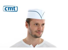 F020 - CMT fourage muts, papier, wit, blauwe lijn, geperforeerde kroon