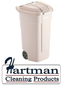 F695 - Rubbermaid rolcontainer met beige deksel 100 Liter
