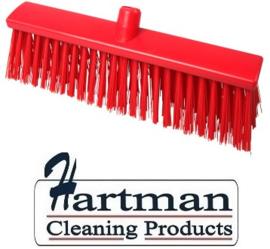 22410133-3 - Hoogwaardige FBK kleurcode HACCP Polyester hygiënische kunststof harde bezem 400 x 60 mm rood 25190