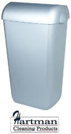 5671 - Afvalbak kunststof RVS look 23 liter half open, PQA23M PlastiQline