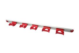 722102106-2 - FBK HCS Wand railophangsysteem kleurcode HACCP aluminium 900 mm 5 x klem rood 15157