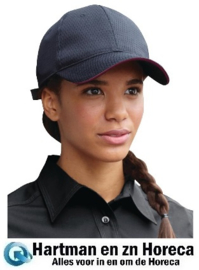 A943 - Chef Works Cool Vent baseball cap zwart en bordeaux