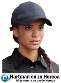 A943 - Chef Works Cool Vent baseball cap zwart en bordeaux