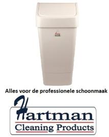 L3003202 - Afvalbak met schommeldeksel wit 50 liter SYR