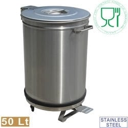 PCRA/50B -  RVS Vuilnisbak, deksel met pedaalbediening - 50 liter