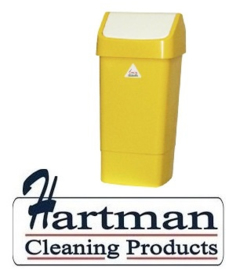 L3003294 - Afvalbak met schommeldeksel geel 50 liter SYR