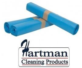 456104 - Blauwe HDPE afvalzakken van 70x110 cm, en 23 my dik. Verpakking: 25 rollen à 20 zakken