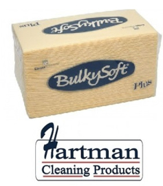 HCT32066 - Bulkysoft crème 2 laags point-to-point servetten van 38x38 cm, 1/8 gevouwen. Pure cellulose. 20 pakken à 40 st.