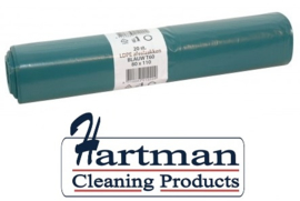 456002 - Blauwe LDPE afvalzakken van 80x110 cm, en 60 my dik. Verpakking: 10 rollen à 20 zakken
