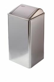 11062 - Afvalbak RVS  hoogglans 65 liter gesloten Mediclinics