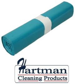 456001 - Blauwe LDPE afvalzakken van 70x110 cm, en 50 my dik. Verpakking: 10 rollen à 20 zakken