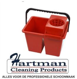 860939 - SYR C10 dubbele mopemmer voor schoon en vuilwater met handgreep en zeef 2 x 6 liter kleurcode rood