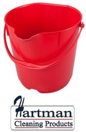 302106101-3 - Emmer FBK hoogwaardige kleurcode HACCP hygiënische polypropyleen 15 liter rood 80101