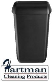441454 - Afvalbak kunststof mat zwart 43 liter Quartz-Line