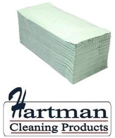 P50786 - Euro papieren groene handdoekjes recycled papier 1-laags Z-vouw 23x25cm groen, colli 5000 stuks