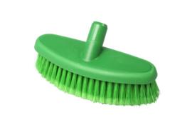 742161005-5 - Hoogwaardige kleurcode HACCP hygiënische kunststof wasborstel waterdoorlatend uit 1 stuk , zacht met gespleten vezels 265 x 90 mm, groen 24104
