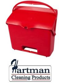 410101104-3 - FBK Hotelstofblik met handgreep hoogwaardige kleurcode hygiënische polypropyleen rood 80205