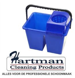 860938 - SYR C10 dubbele mopemmer voor schoon en vuilwater met handgreep en zeef 2 x 6 liter kleurcode blauw
