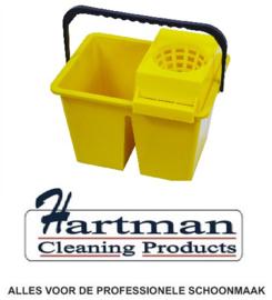 860940 - SYR C10 dubbele mopemmer voor schoon en vuilwater met handgreep en zeef 2 x 6 liter kleurcode geel