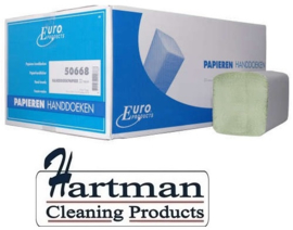 P50668 -  Euro papieren groene handdoekjes recycled papier 2-laags Z-vouw 23x25cm groen met ECO keurmerk, colli 3200 stuks