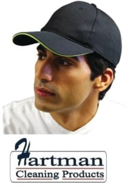 A941 - Chef Works Cool Vent baseball cap zwart en limoen