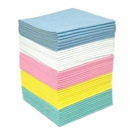 sopdoeken, geel, blauw, roze
