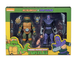 NECA TMNT Action Figure 2-Pack Michelangelo vs Foot Soldier