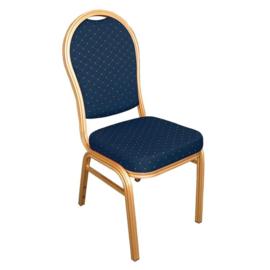 4 Blauwe Banketstoelen met ovale rug
