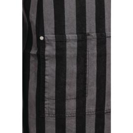 Verstelbare Schort - Krijtstrepen grijss/zwart - Met zakje - Unisex
