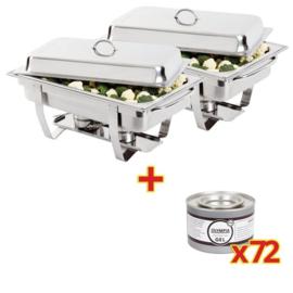 2 X Chafing Dish 1/1GN incl. 72 blikken brandpasta