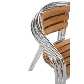 Stapelbare aluminium en essenhouten stoelen - per 4 stuks