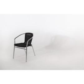 Stapelbare stoel met zwarte rotan zitting - per 4 stuks