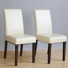 Bolero kunstlederen crème stoel 2 stuks