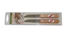 Robert Herder Klassiker Aardappelmes 8,5 cm carbonstaal met roodbeukenhouten - 2 stuks in blister verpakking
