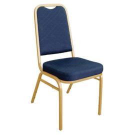 Blauwe banketstoel met vierkante rugleuning (4 stuks)
