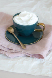UNC  Good Morning  bordje bluegreen met gouden randje