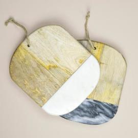 Dassie serveerplank Keya ovaal marble grijs
