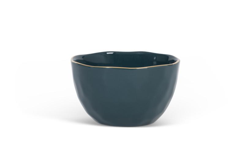 UNC  Good Morning kom bluegreen met gouden randje