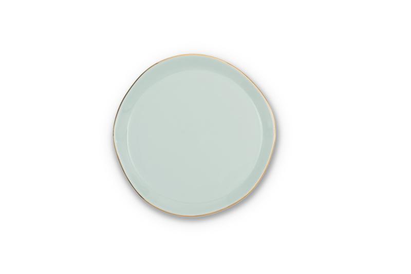 UNC  Good Morning bordje celadon met gouden randje